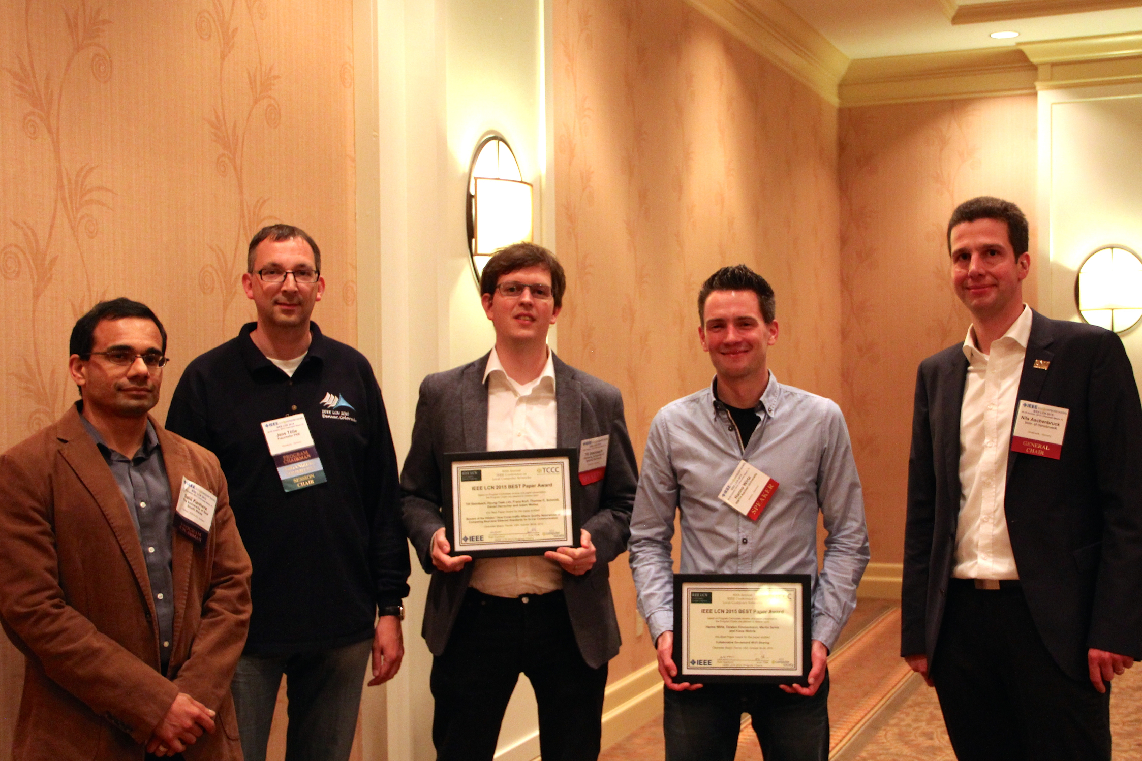 Awards Ceremony of the 40th IEEE LCN Conference in Clearwater Beach, Florida (Photo: Leah Pope)